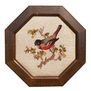 Vintage Octagonal Framed Embroidered Bird